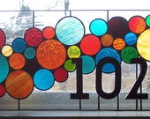 Stained Glass Window Panel / Bubble Transom with 3D House Numbers (AM-41)