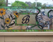 Stained Glass Window - Transom with Crab and Black Eyed Susan (TW-2)