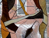 Stained Glass Hanging Panel ----Natural Abstract OOAK (P-19)
