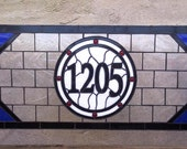 Stained Glass Window Panel -- Transom Window with House Number (AM-42)