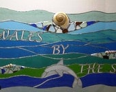 Stained Glass Window Hanging - Sea Glass, Dolphin and Sea Shells (P-20)