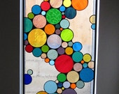 Large Contemporary Stained Glass Bubble Window Panel / Hanging and Colorful (W-10)