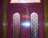 Stained Glass Iridescent Door Panels/Sidelights Set- Champagne Diamonds (S-6).