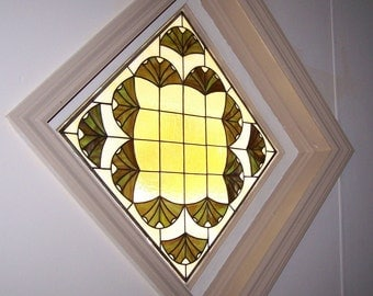 Ginkgo Leaves Stained Glass Window (W-12)