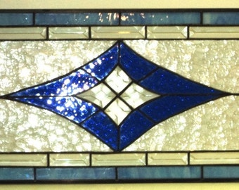 Bevels and Blue Stained Glass Transom (TW-11)