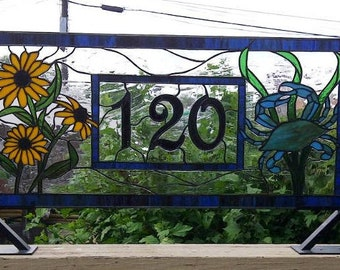 Crab and Black Eyed Susan Stained Glass Transom Window with House Number (AM-33)