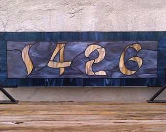 Stained Glass Window Panel / Transom with Bold House Number (AM-40)