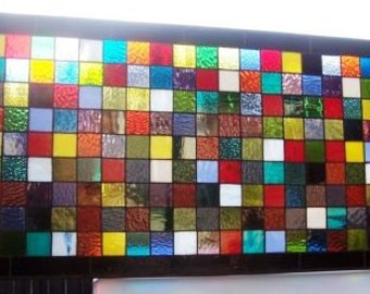 Stained Glass Window Panel - Colorful Quilt Squares (W-8)