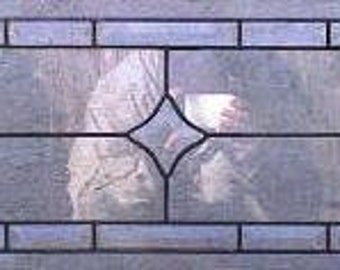 Stained Glass Transom Window Panel - Clear Bevel Stars (W-23)