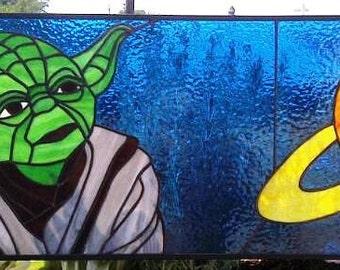Stained Glass Window Panel / Yoda / Star Wars (P-18)