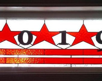 Stained Glass Window Panel / Washington DC Flag Transom with House Numbers (AM-5)
