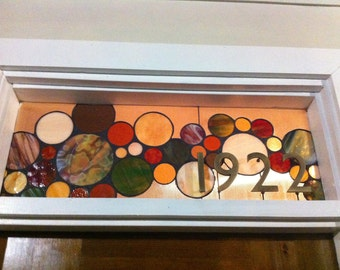 Stained Glass Window Panel / Transom with 3D house numbers Earth Tone (AM-16)