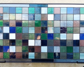 Stained Glass Window Panel - Cool Shades (W-22)