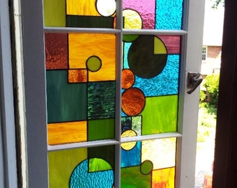 "Stained Glass Window / ""Geometric Splash"" (W-29)"