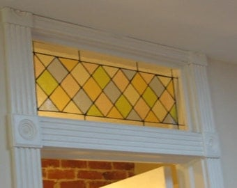 Stained Glass Transom Window Panel - Classic Pastel Diamonds (TW-24)