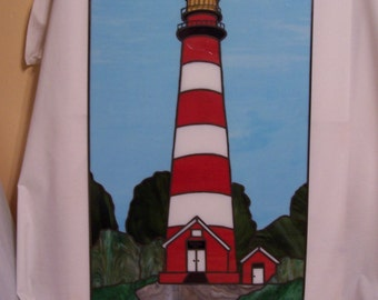Assateague Lighthouse Stained Glass Panel (P-7)