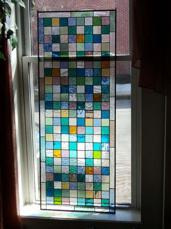 Stained Glass Window Panel - Sea Glass Colors (W-4)