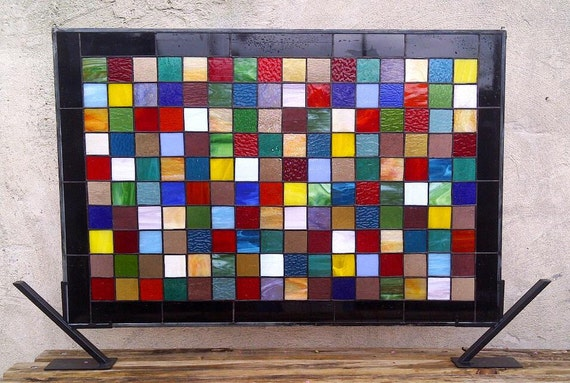 """Stained Glass Window Panel  / """"Patch Work Quilt 2"""" (W-19)"""