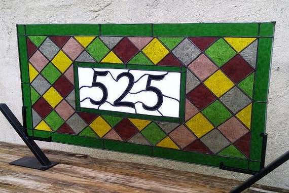 Comtemporary Diamonds -- Stained Glass Window Panel with House Number (AM-7)