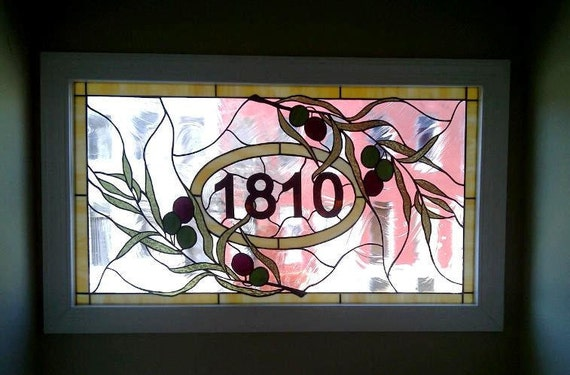 Stained Glass Window Panel - Olive Branch & House Numbers- Transom (AM-9)