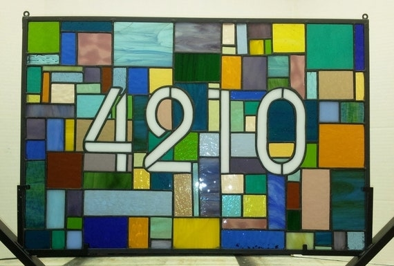 Colorful Patchwork Stained Glass Window Panel / Transom Window (AM-29)