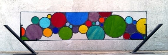 "Stained Glass Window Panel / ""Lively Bubbles""  (W-28)"