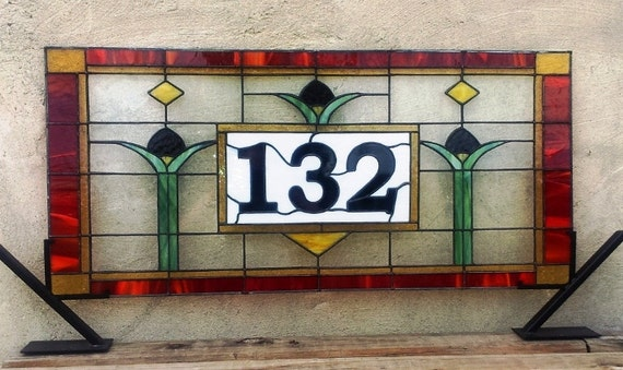 """Stained Glass Transom / """"Craftsman Tulips"""" (AM-51)"""