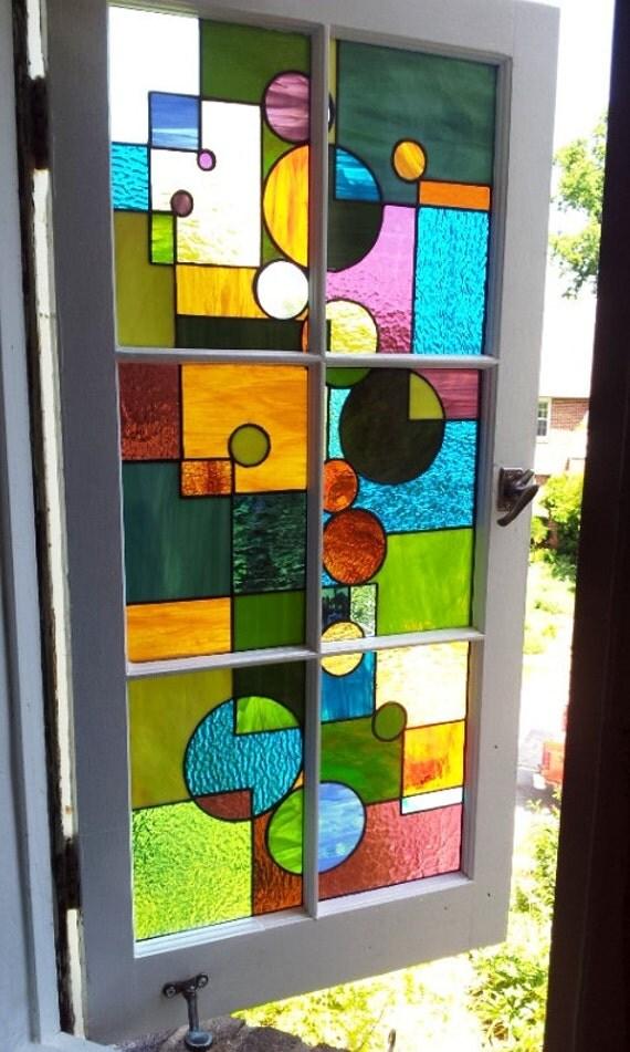 """Stained Glass Window / """"Geometric Splash"""" (W-29)"""