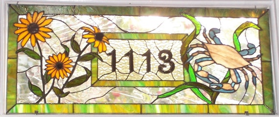 Stained Glass Window - Maryland Crab and Black Eyed Susan Transom (AM-32)