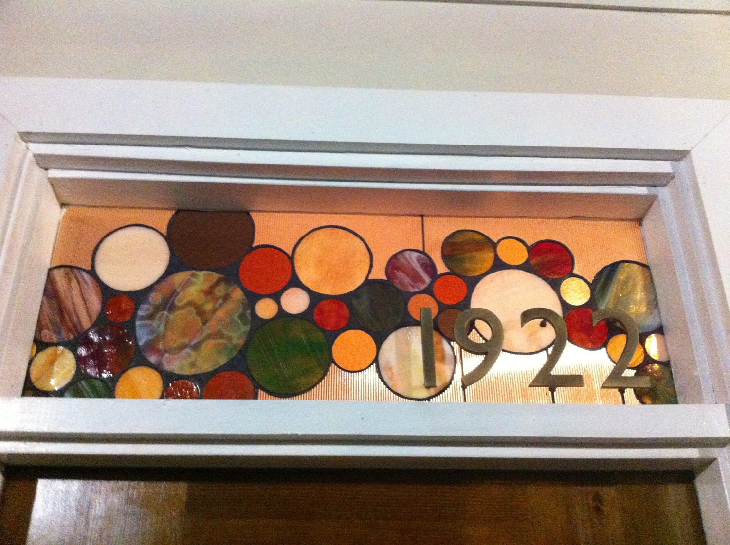 Stained Glass Window Panel Transom With 3d House Numbers