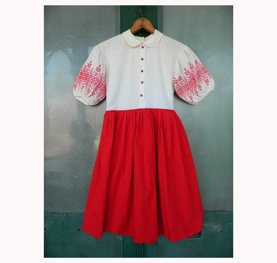 Vintage Red and White Cross Stitch Girls Dress