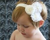 Headband For Baby- Infant Headband - White Victorian Trio Flower Headband -Baby Headband - Photo Prop