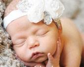 White Baby Headband - Infant Holiday Headband - Baby Girl Headband - White  Glamour Stretch Headband - Photography Prop (WB)