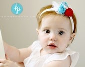 Baby Headband - Feathers and Lace Rosette Red, Blue And White Headband - Baby Girl  Headband..... White Headband (RB)