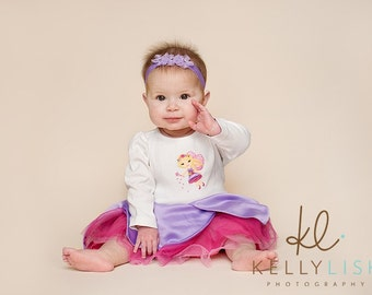 Newborn Baby Infant Toddler  Lavender Shimmering Stretch Headband With Three Small Sheer Flowers