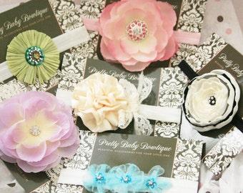 Surprise Set of Baby Headbands ..Baby Flower Headband - Baby Shower Gift -  Over 50 Dollars Worth Of Baby Headbands (GS)