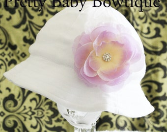 Baby Girl Sun Hat - Easter Bonnet - Bucket Hat - (Removeable) Lavender Flower Clip With White Sun Hat- Fits (You Pick Size)