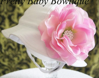 Baby Sun Hat Large Two Tone Pink (Removable) Flower Clip With White Sun Hat-(You Pick Size)