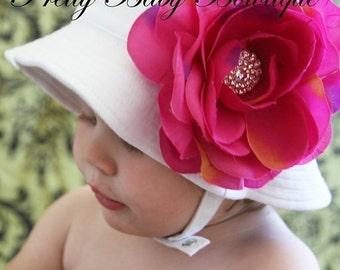 Baby Flower Sun Hat Easter Bonnet - Infant Girl Sun Cap - Toddler Bucket Hat (Removeable) Fuchsia Flower Clip White Sun Hat  (You Pick Size