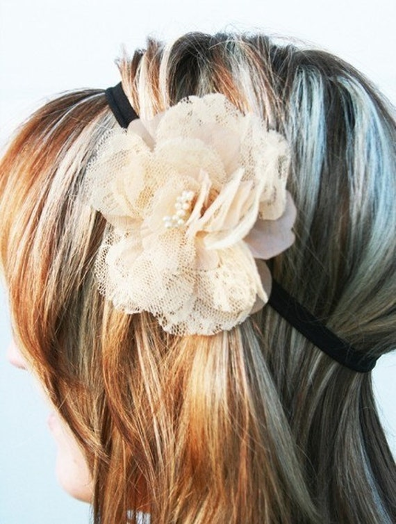 Tan Lace Flower Clip With Black Stretch Headband- For Women, Teens, And Big Girls