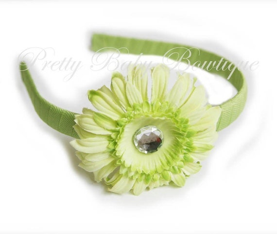 Lime Green Ribbon Wrapped Headband With Lime Green Daisy- Headband Fits Toddler-Adult