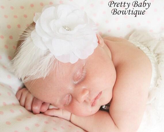 Baptism Baby Headband- Baby Feather Headband- Baby Special Occasion Headband - White Stretch Headband- Baby Photo Prop (FF)