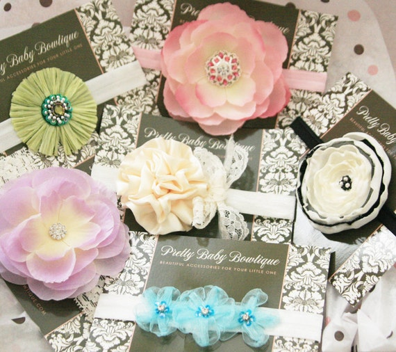 Surprise Set of Baby Headbands ..Baby Flower Headband - Baby Shower Gift -  Over 50 Dollars Worth Of Baby Headbands (GS)