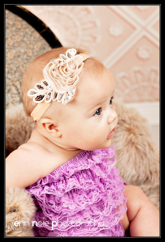 Beige/Tan Baby Headband - Infant Headband - Girl Headband -  Glamour Stretch Headband - Photography Prop (D)