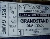Primitive 1932 NY Yankees World Series Ticket Stub Handmade Sign