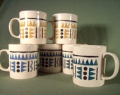 Vintage Kilncraft geometric print Staffordshire stoneware coffee mugs set of 6
