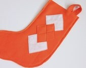 Orange Argyle Eco Felt Christmas Stocking