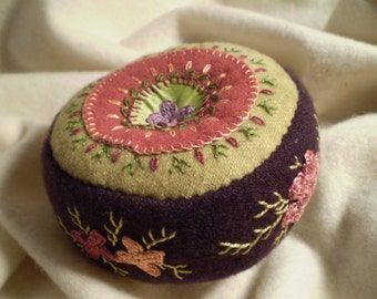 Citron and Eggplant Pincushion