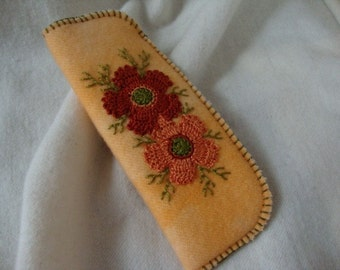 Rust flower reader eyeglass case