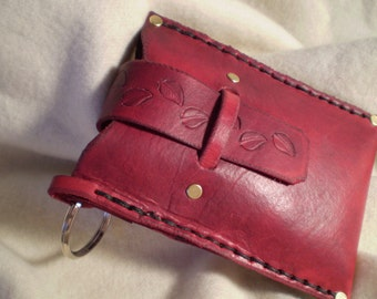 Cranberry Leather Case - Medium
